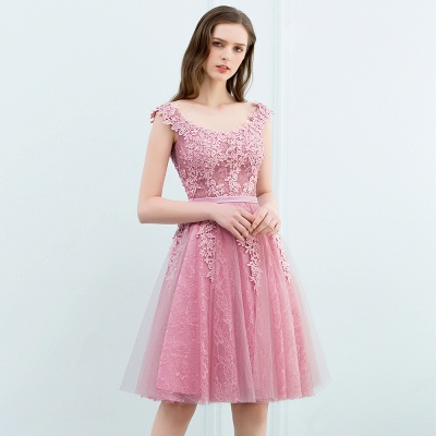 Pink A-Line Homecoming Dresses | Lace Tulle Mini Prom Dresses_8