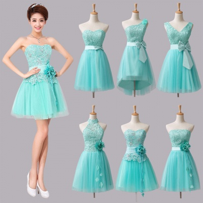 Mini Lace Tulle Short Bridesmaid Dresses with Bowknot Flower_3