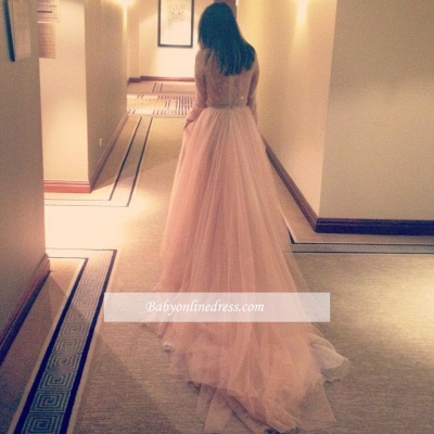 Beautiful Tulle Long Party Gowns Lace V-Neck Long-Sleeve Evening Dress_3