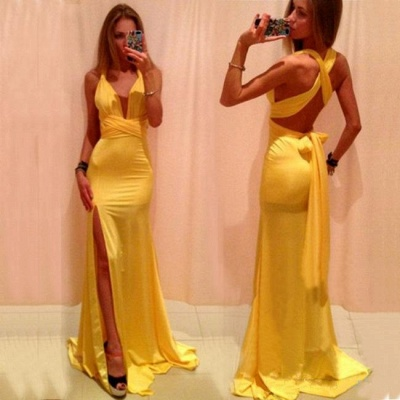 Green Backless Prom Dresses Deep V Neck Crisscross Back Side Slit Sexy Simple Evening Gowns_4