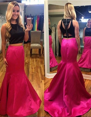 Two Pieces Mermaid Sleeveless Prom Dresses Strech Satin Sweep Train Party Dress_1