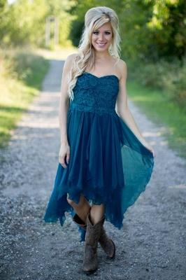 Summer Asymmetrical Short Bridesmaid Dress | Country Chiffon Maid of the Honor Dress_3