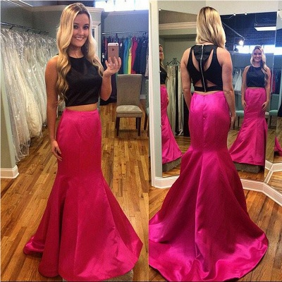 Two Pieces Mermaid Sleeveless Prom Dresses Strech Satin Sweep Train Party Dress_3
