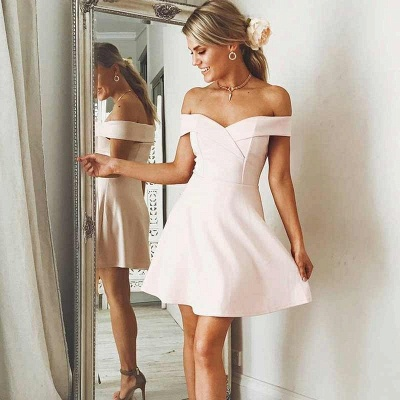 Simple Off-The-Shoulder Mini A-Line Homecoming Dresses | Short Mini Cockatil Dresses_4
