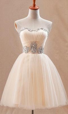 Sweetheart Crystals Short Homecoming Dresses Elegant Graduation Dresses_2