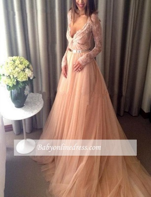 Beautiful Tulle Long Party Gowns Lace V-Neck Long-Sleeve Evening Dress_4