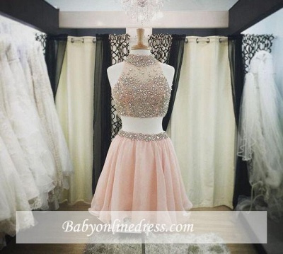 Halter-Neck Two-Piece Pink Blush Crystals Luxury Short Homecoming Dresses_1