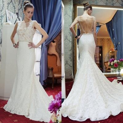 Zipper Sleeveless Lace Mermaid Backless Gorgeous Wedding Dresses_3