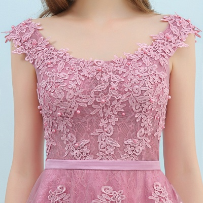 Pink A-Line Homecoming Dresses | Lace Tulle Mini Prom Dresses_9