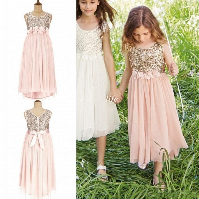 Pink Flower Girl's Dresses Sequins with Handmade Flowers Girl's Formal Dress_3