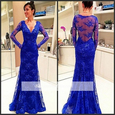 Elegant Long-Sleeve Royal-Blue Evening Gowns Lace Prom Dress_1