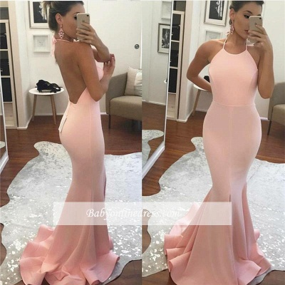 Sleeveless Mermaid Halter Backless Glamorous Prom Dress_1