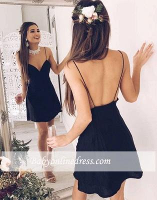 Short Backless Chic V-neck Stylish Spaghetti-Straps Black Cocktail Dress_1