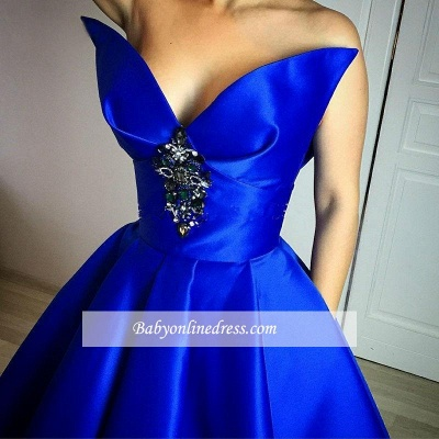 Elegant Royal Blue Crystal Prom Dress Ball-Gown Floor-Length Evening Gowns_3