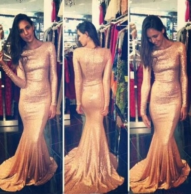 Sequins Prom Dresses Long Sleeves Simple Long Mermaid Evening Gowns_2