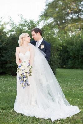 Elegant Simple Appliques Backless Sweetheart Tulle Wedding Dresses_2