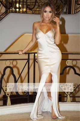 Sheath Sexy Split White V-Neck Spaghetti-Straps Prom Dress_3