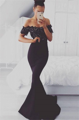 Glamorous Off-shoulder Sweep-train Lace Top Mermaid Prom Dresses_1