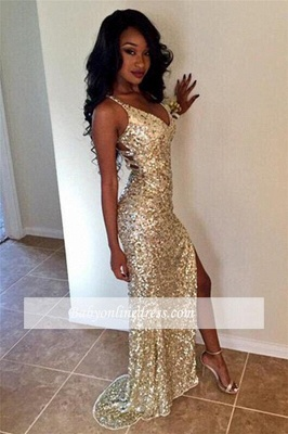 Sheath V-neck Sparkly Sequined Long Alluring Split Champagne Prom Dresses_3