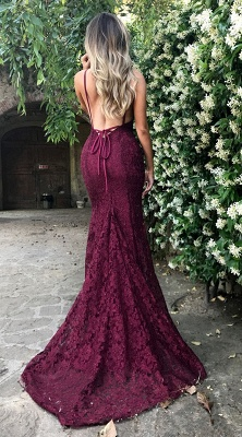 Amazing Lace Maroon Prom Dresses 2018 V Neck Spaghetti Strap Long Evening Dress_3