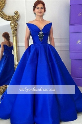 Elegant Royal Blue Crystal Prom Dress Ball-Gown Floor-Length Evening Gowns_4