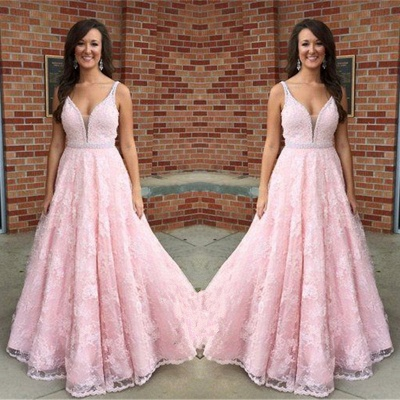 Elegant Pink V-Neck Prom Dress 2018 Sleeveless Lace Crystal Evening Gowns_2