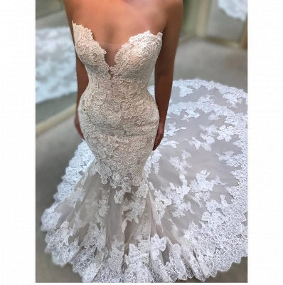 Elegant Sweetheart Wedding Dresses | Lace Appliques Sleeveless Bridal Gowns_3