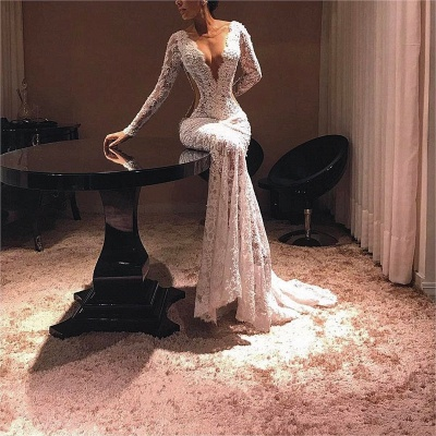 Sexy Sheer Lace Evening Dresses | V-Neck Long Sleeves Prom Dresses_3