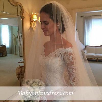 Off-the-shoulder Wedding Dresses | V-neck Long Sleeves Lace Bridal Gowns_1