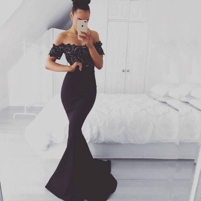 Glamorous Off-shoulder Sweep-train Lace Top Mermaid Prom Dresses_3
