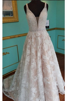 Elegant Pink V-Neck Prom Dress 2018 Sleeveless Lace Crystal Evening Gowns_4