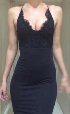 Mermaid Spaghetti-Straps Appliques Lace Sexy Black Evening Dress BA4216_4