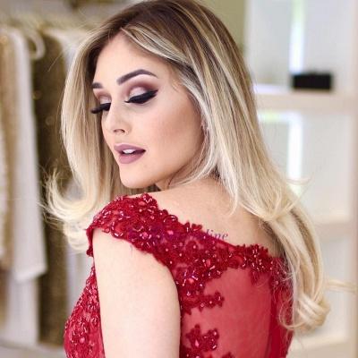 Glamorous Sleeves Mermaid Cap V-Neck Beading Lace Prom Dresses_4