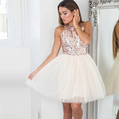 Shiny Tutu A-Line Homecoming Dresses | Halter Sequins Tulle Mini Cocktail Dresses_3