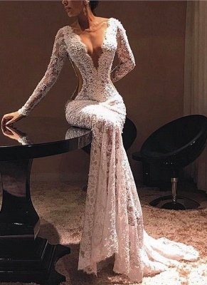 Sexy Sheer Lace Evening Dresses | V-Neck Long Sleeves Prom Dresses_1