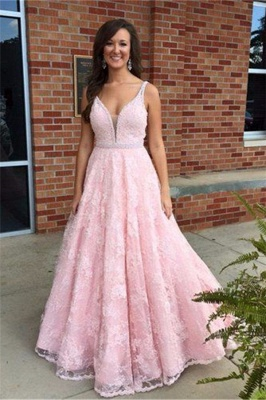 Elegant Pink V-Neck Prom Dress 2018 Sleeveless Lace Crystal Evening Gowns_3