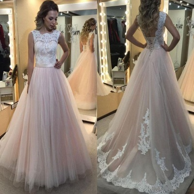 Lace Tulle Vintage Lace-up Sleeveless A-Line Wedding Dresses_3