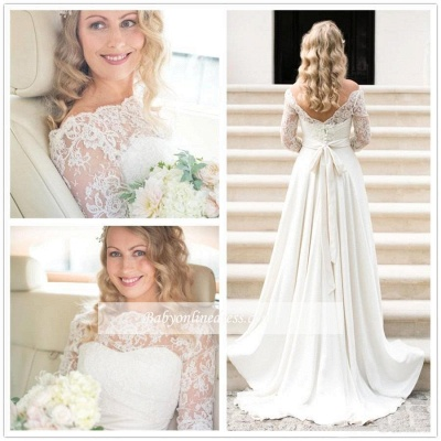 A-line Elegant Sash Bow Fall Lace Long-Sleeves Bateau-Neck Wedding Dresses_1
