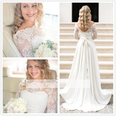 A-line Elegant Sash Bow Fall Lace Long-Sleeves Bateau-Neck Wedding Dresses_1
