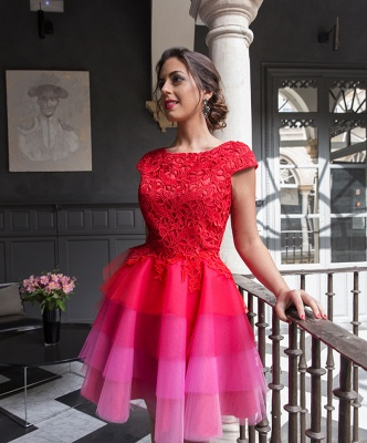 Red Homecoming Dresses Lace Top Capped Sleeves Multi Colors Short Cocktail Dress_3