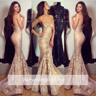 Alluring Mermaid Sweetheart-Neck Prom Dress Champagne Lace Evening Gowns_1