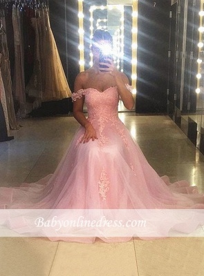 Sweetheart-neck Sweep-trian Pink A-line Sleeveless Lace Evening Dress_1