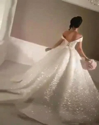 Glittering Ball Gown Wedding Dresses   Off-the-Shoulder Bridal Gowns_4