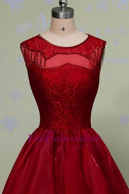 Glamorous Hi-Lo Red Prom Dress Sleeveless Sequins Lace Evening Gowns_4