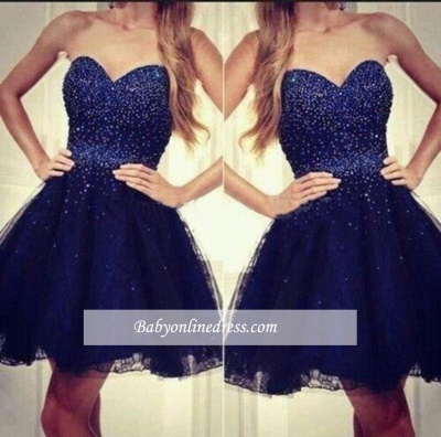 Navy Blue Sweetheart Strapless Short Sequins Tulle Homecoming Dresses with Beading_1