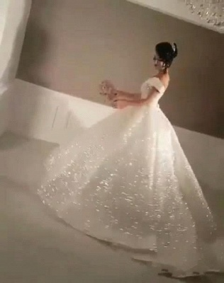 Glittering Ball Gown Wedding Dresses   Off-the-Shoulder Bridal Gowns_5