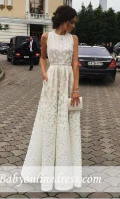 Scoop white Satin Gradient Long Sleeveless Print Charming Prom Dresses_1