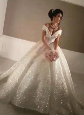 Glittering Ball Gown Wedding Dresses | Off-the-Shoulder Bridal Gowns