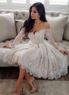 Sext Lace A-Line Homecoming Dresses | Off-The-Shoulder Long Sleeves Short Cocktail Dresses_1