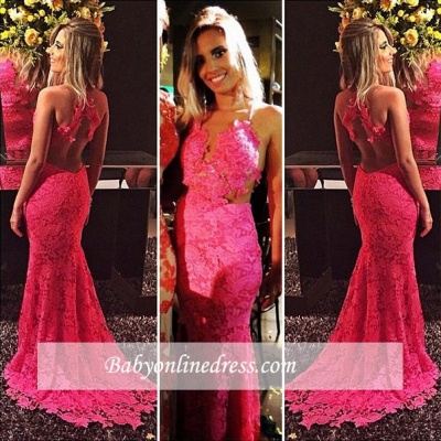 Sexy Mermaid Red Lace Evening Gowns Open-Back Sleeveless Prom Dresses_1